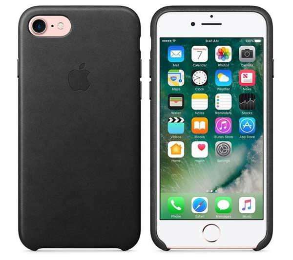 Coque en cuir iPhone 7 noir