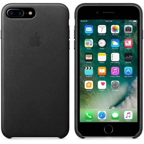Coque en cuir iPhone 7 Plus noir