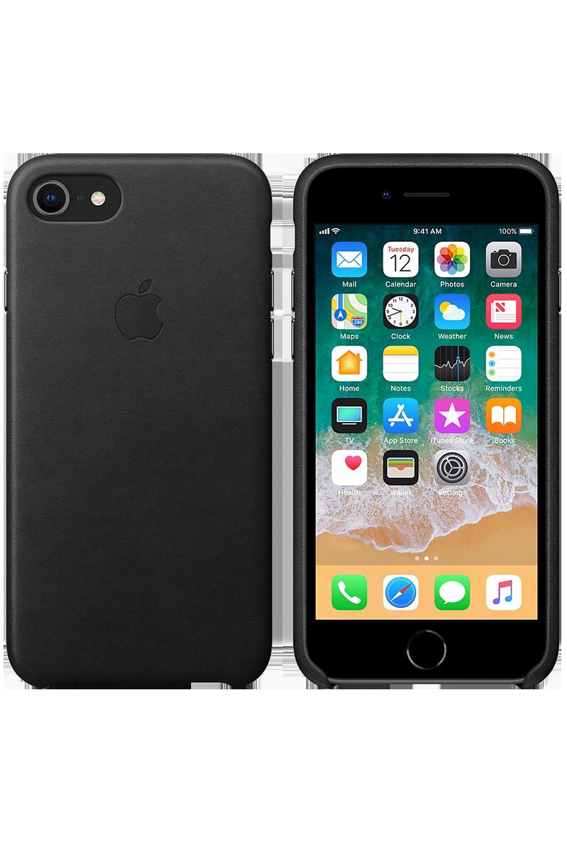 Coque en cuir pour iPhone 8 / 7 noir