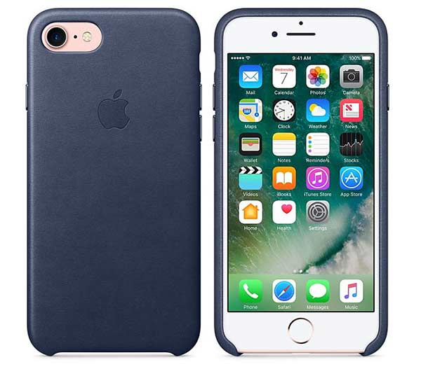 Coque de protection en cuir bleu Smartphone iPhone 7