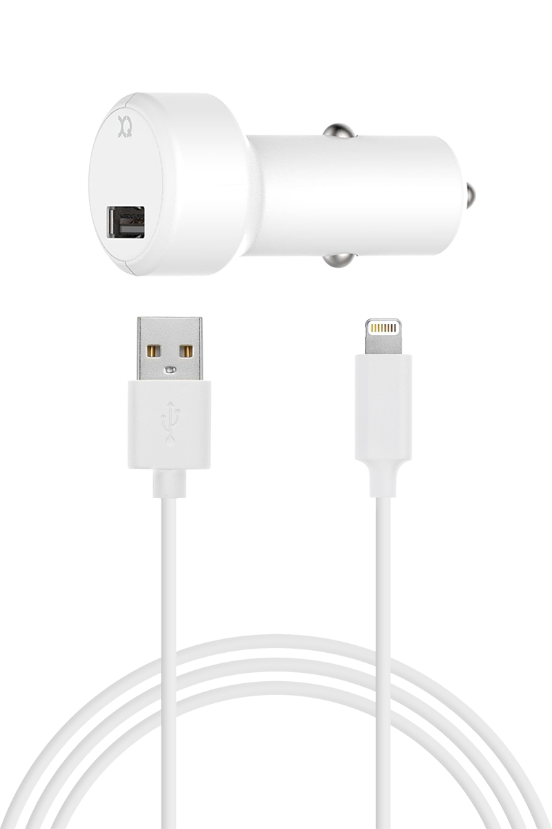 Chargeur allume cigare 2.4A Lightning blanc