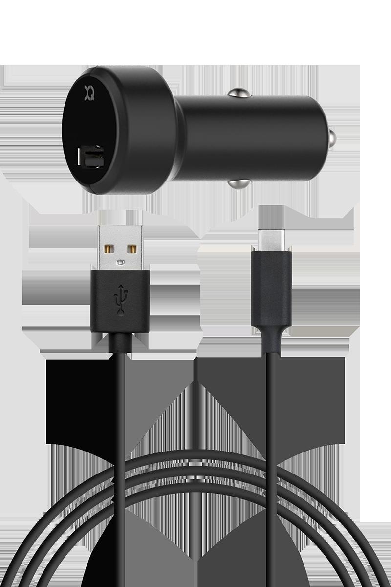 Chargeur allume cigare 2.4A USB C noir