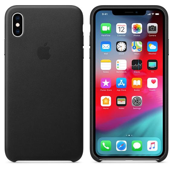 Coque en cuir pour iPhone Xs noir
