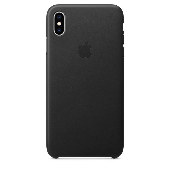 Coque en cuir pour iPhone Xs Max noir