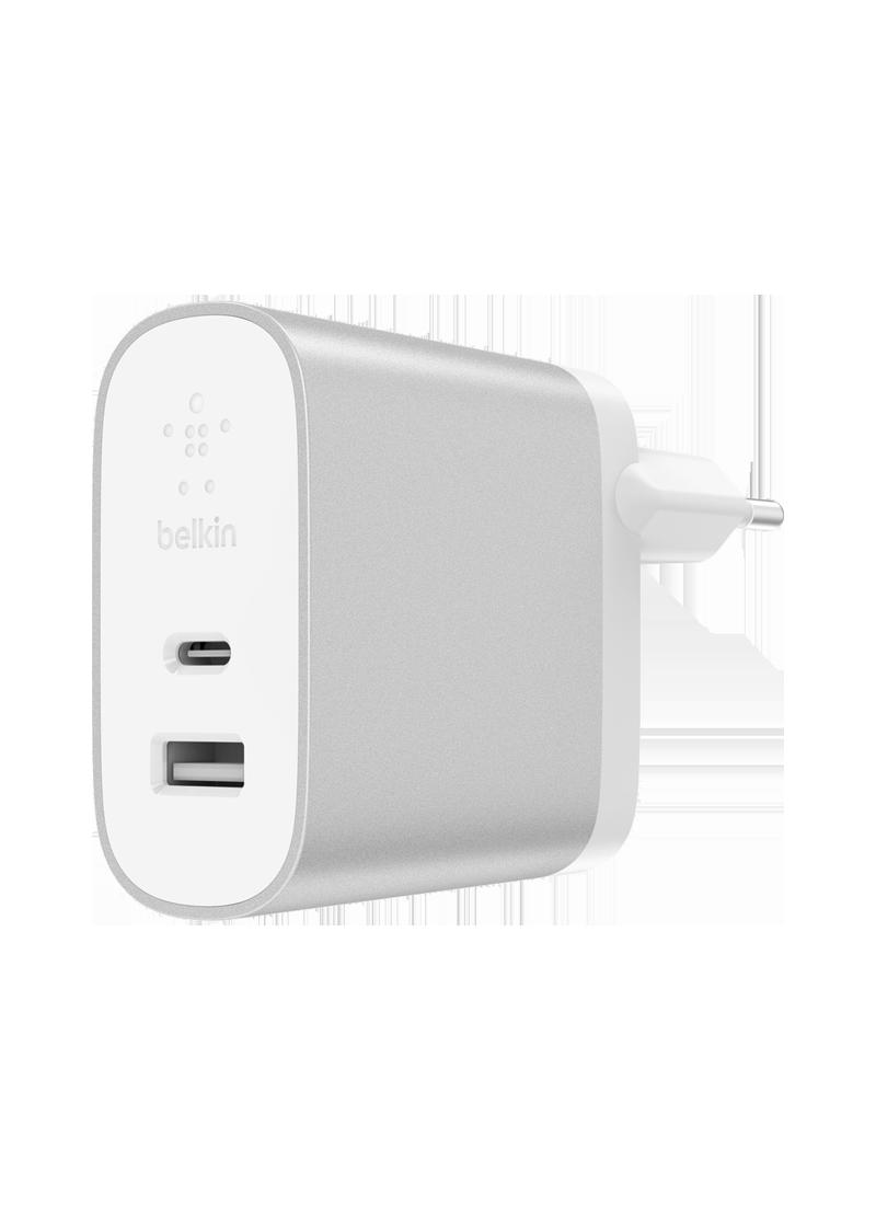 Chargeur secteur BOOST CHARGE Belkin (USB-C + USB-A) argent