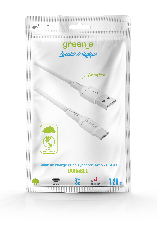 Câble écologique USB C vers USB 3A 120 cm blanc