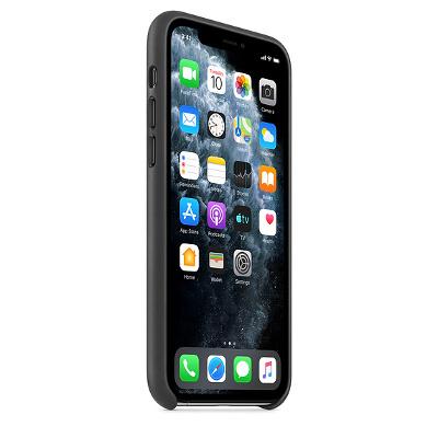 Coque en cuir pour iPhone 11 Pro Max noir