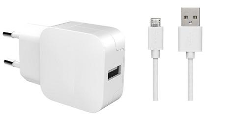 Chargeur secteur 2.4A micro-USB blanc