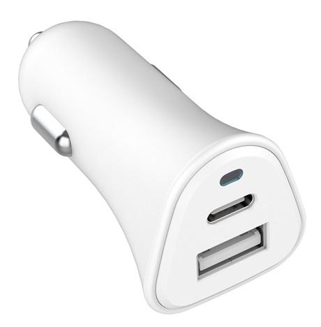 Chargeur allume-cigare écologique USB-A & USB-C blanc