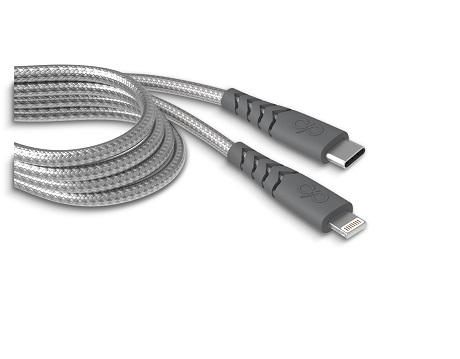 Câble renforcé USB C vers Lightning Force Power 2m gris