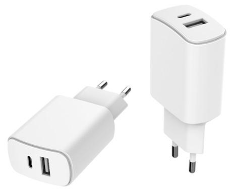 Tête de charge écologique 2 ports USB A/C blanc