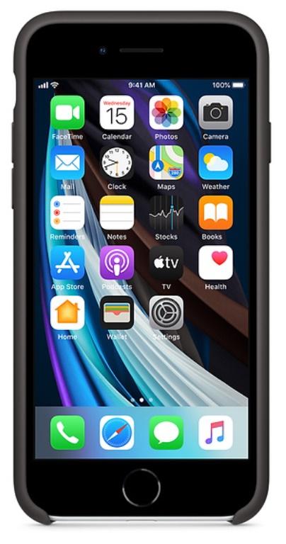 Coque en silicone Apple pour iPhone SE noir