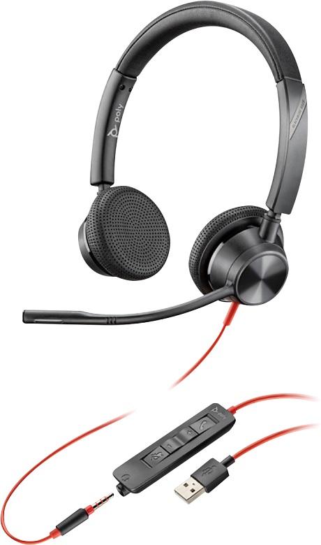 Casque Poly Blackwire 3325 USB-A/jack 3.5mm noir