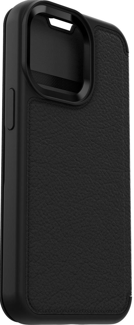 Etui folio renforcé en cuir Strada pour iPhone 13 noir