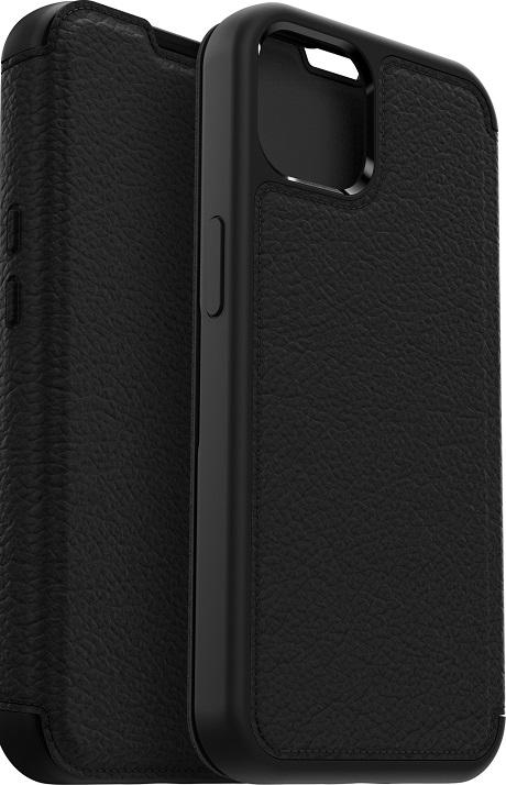 Etui folio renforcé en cuir Strada pour iPhone 13 Pro noir