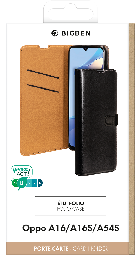 Etui folio Wallet Oppo A16s noir
