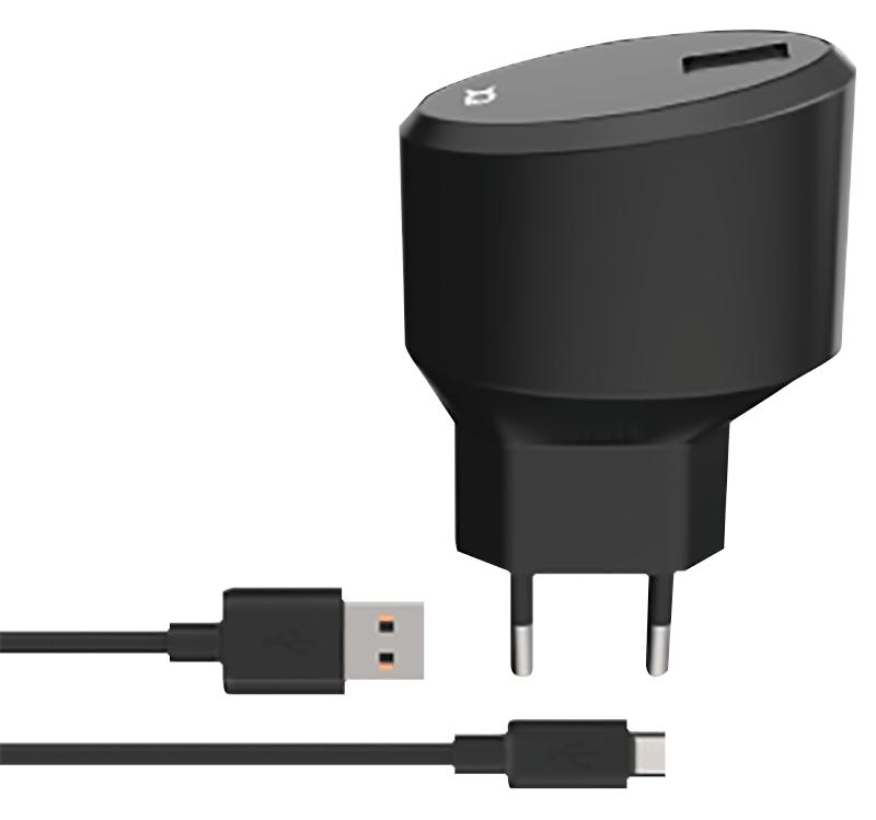 Chargeur secteur 2.4A micro USB noir