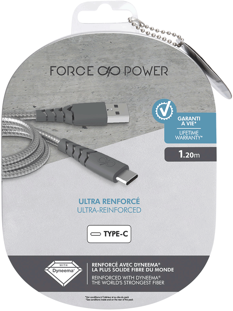 Câble Force Power USB-C noir