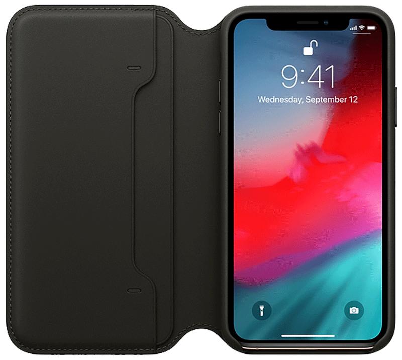 Étui folio en cuir pour iPhone Xs noir