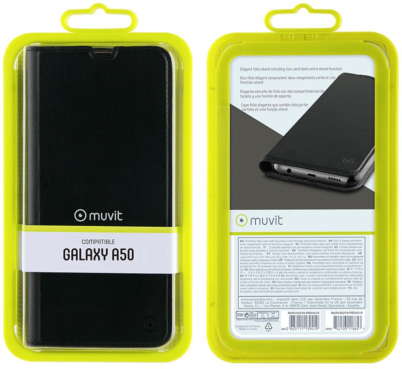 Etui folio Muvit Galaxy A50 noir