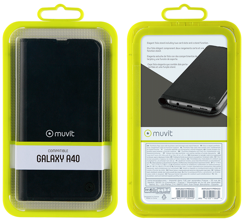 Etui folio Muvit Galaxy A40 noir