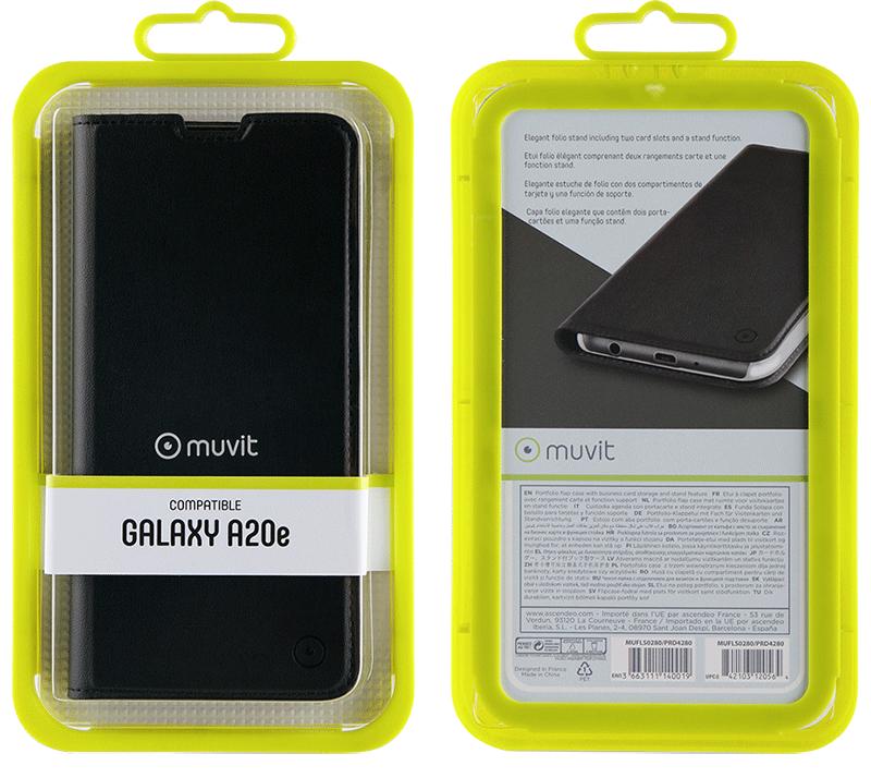 Etui folio Muvit Galaxy A20e noir