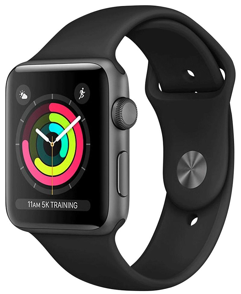Apple Watch Series 3 GPS boîtier sidéral bracelet Sport noir 42 mm
