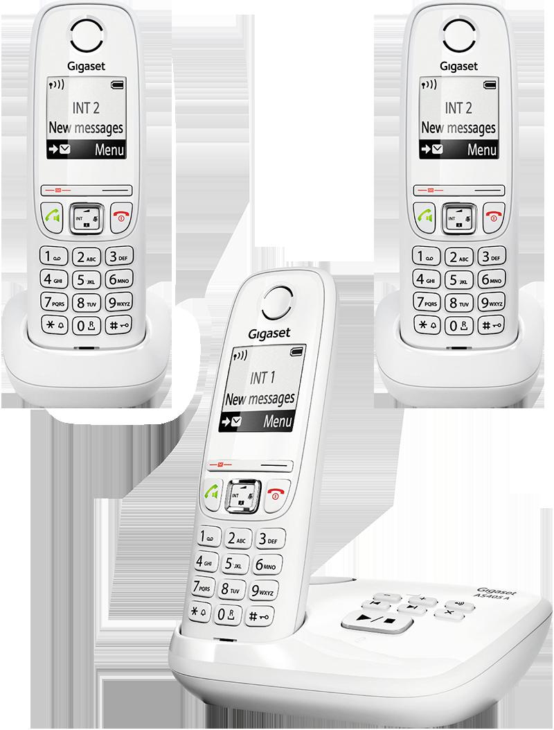 Téléphone fixe Gigaset AS 405 A trio blanc avec répondeur