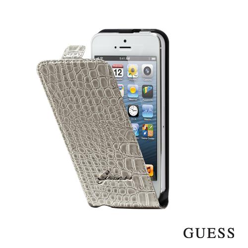 Etui Flap Croco GUESS Blanc Iphone 5