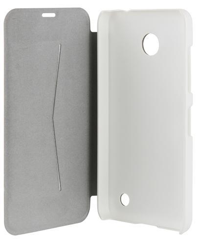 Etui folio Nokia Lumia 635 métal brossé blanc