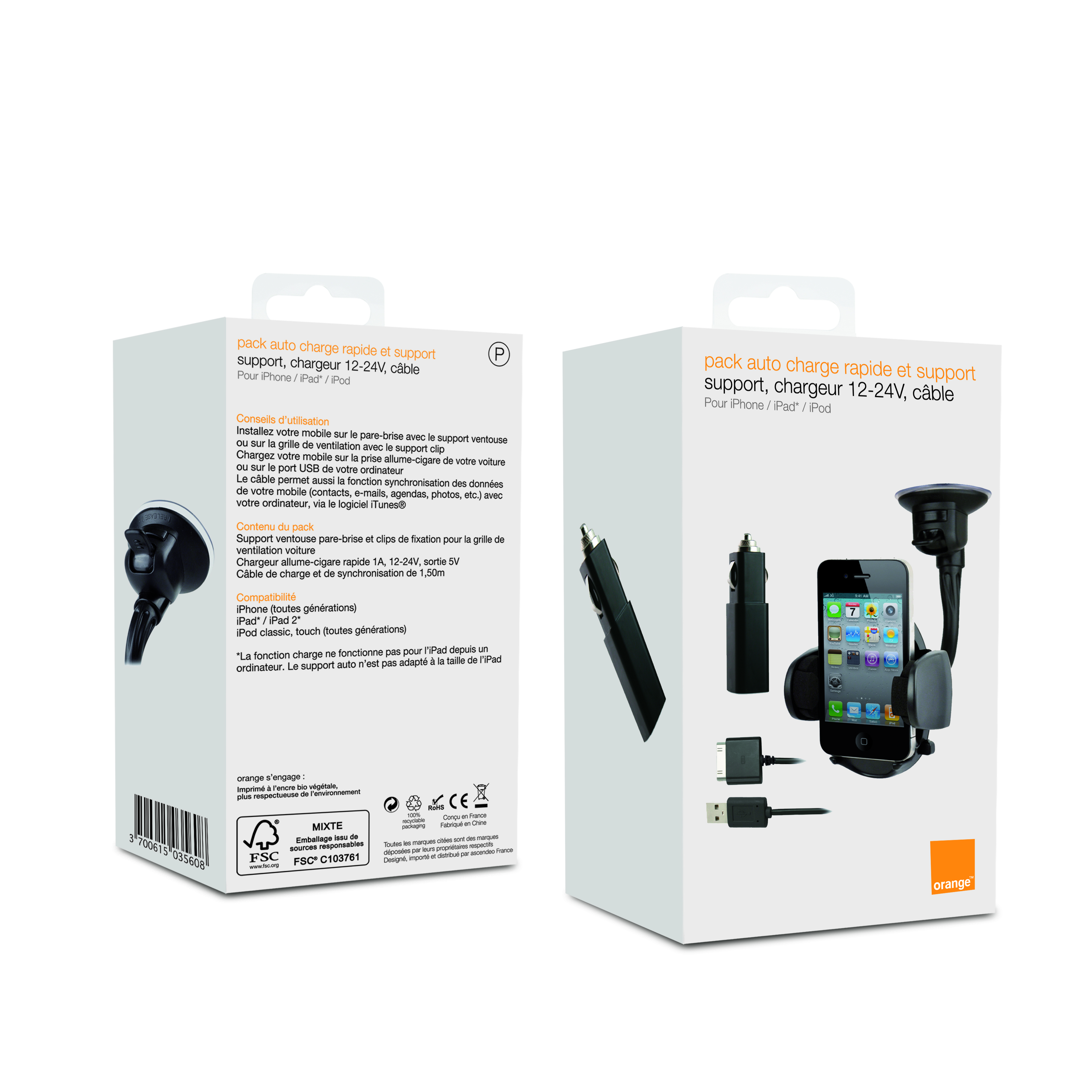 Pack Auto Support et Charge iPhone, iPad, iPod