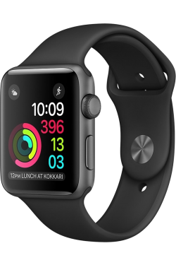 Apple Watch Series 2 42mm gris sidéral bracelet sport noir